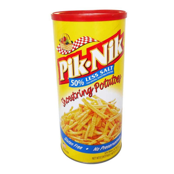 PIK-NIK SHOESTRING POTATOES LESS SALT 9 OZ