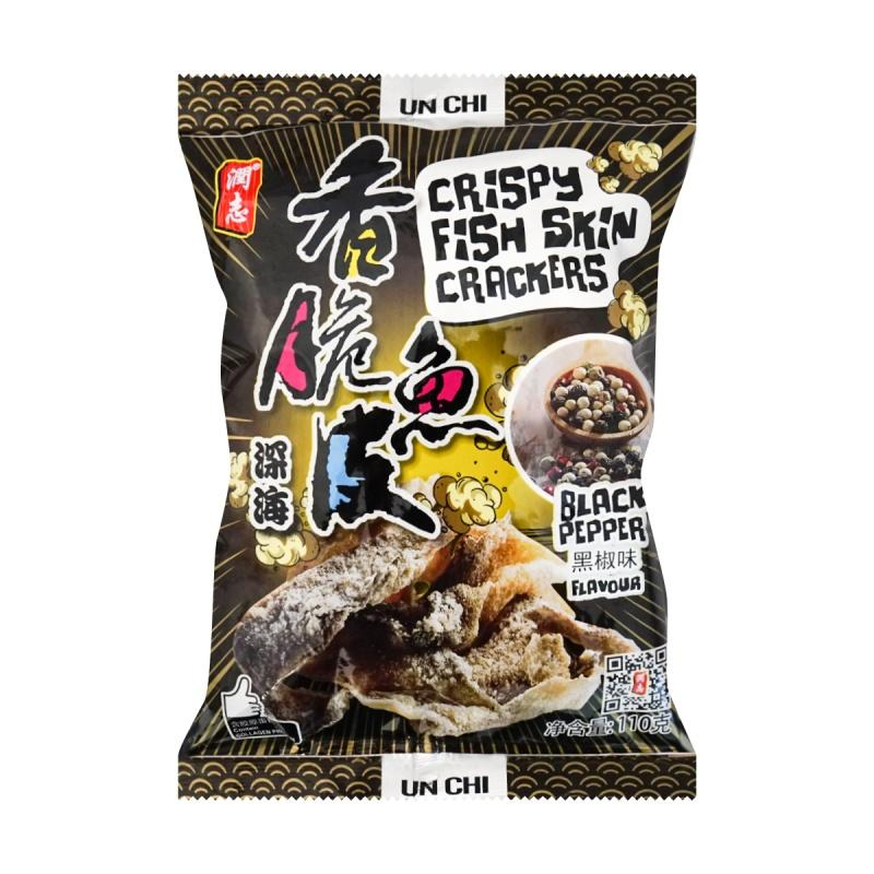 Unchi Crispy Fish Skin Crackers Black Pepper Flavor 50g