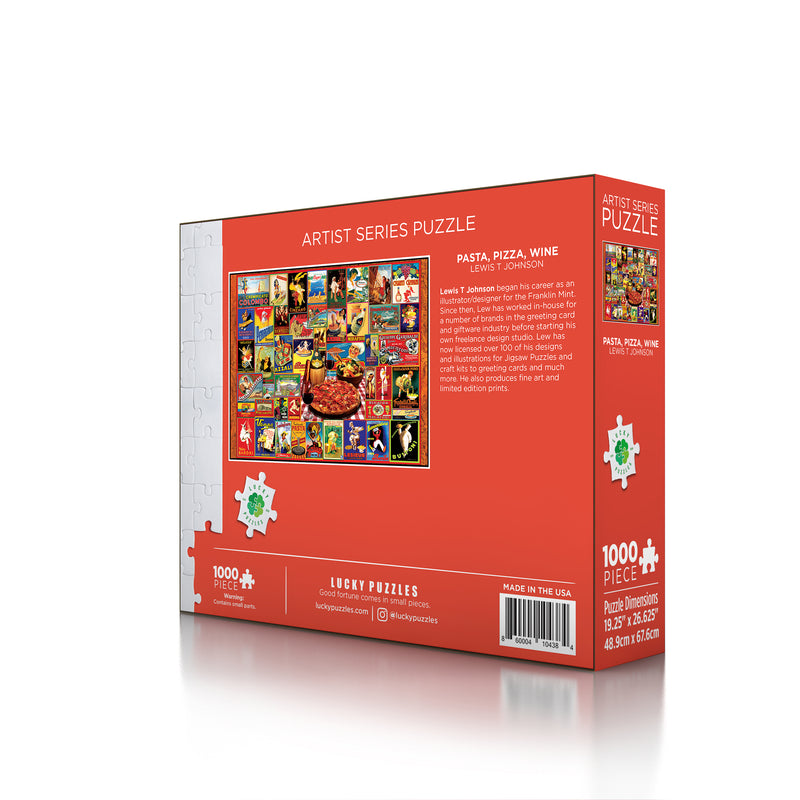 Pasta Pizza Wine by Lewis T Johnson Lucky Puzzles 1000 Piece Jigsaw Puzzle 3D back