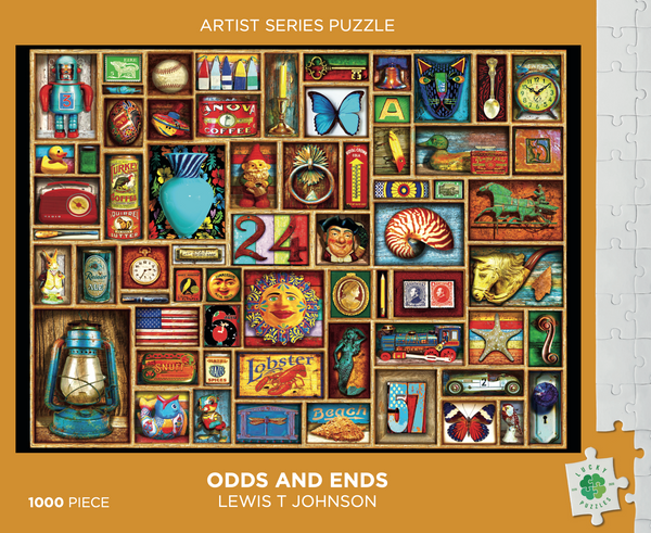 Odds and Ends by Lewis T Johnson Lucky Puzzles 1000 Piece Jigsaw Puzzle front of box
