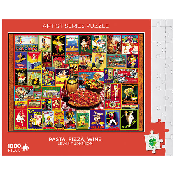 Pasta Pizza Wine by Lewis T Johnson Lucky Puzzles 1000 Piece Jigsaw Puzzle