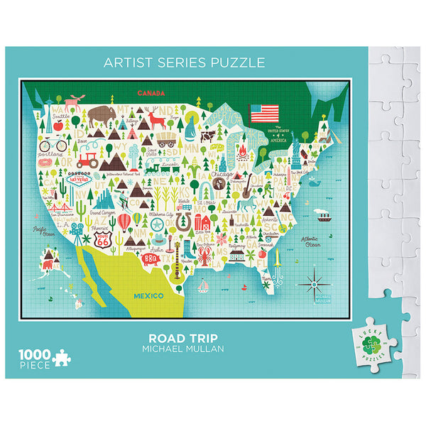 Road Trip by Michael Mullan Lucky Puzzles 1000 Piece Jigsaw Puzzle