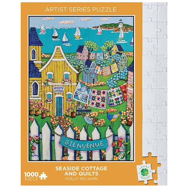 Seaside Cottage and Quilts by Holly Wojahn Lucky Puzzles 1000 Piece Jigsaw Puzzle
