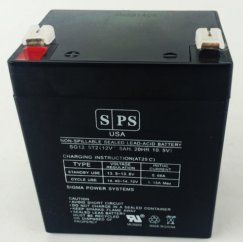 12V 5Ah rechargeable Lead acid battery with T2 teriminals