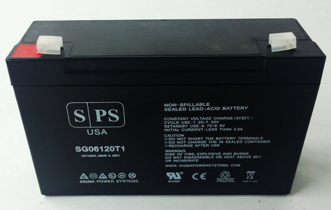 6V 12Ah rechargeable Lead acid battery with T1 teriminals