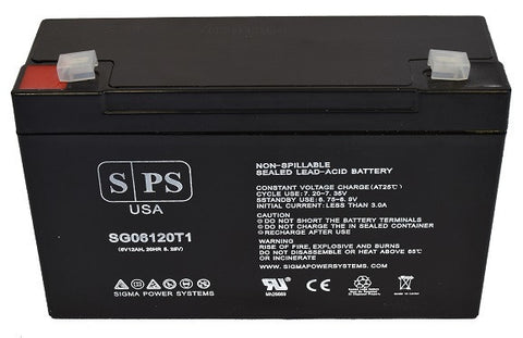 Power-Sonic PS-6120F2 Emergency Exit light 6V 12Ah Battery