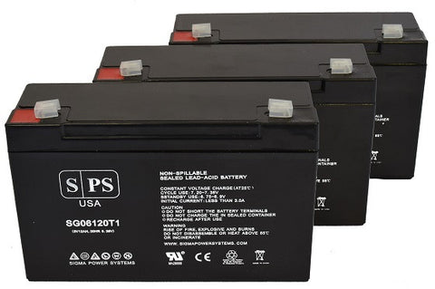 Emergi-lite 6JSM2 6V 12Ah SPS Battery - 3 pack
