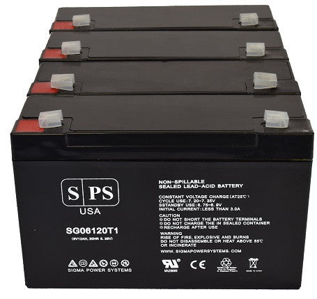 Emergi-Lite 12-DSM-36 6V 12Ah Battery - 4 pack