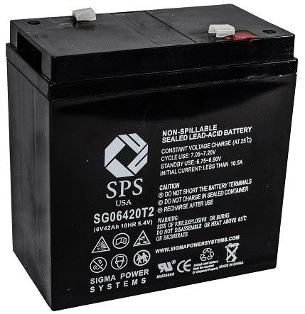 6V 42Ah SLA battery with T2 (0.250 inch) terminals