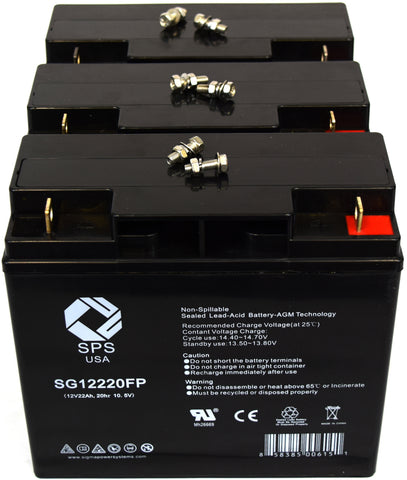 12V 22Ah rechargeable SLA battery with FP terminals 6 Pack