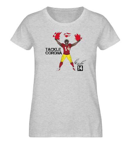 Tackle Corona - David Bada Damen-T-Shirt aus Bio-Baumwolle