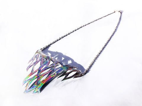 Holographic Veins Resin Necklace