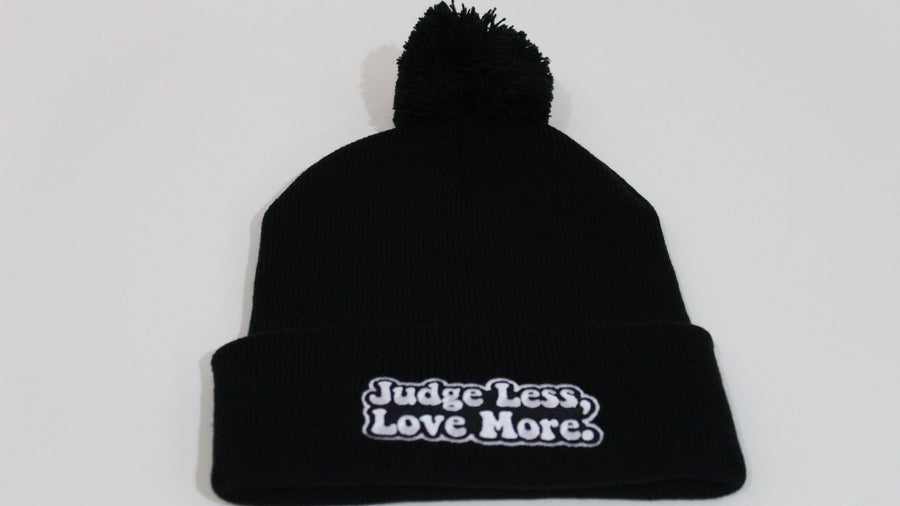 Judge Less, Love More. Double Sided Beanie w/ Pom