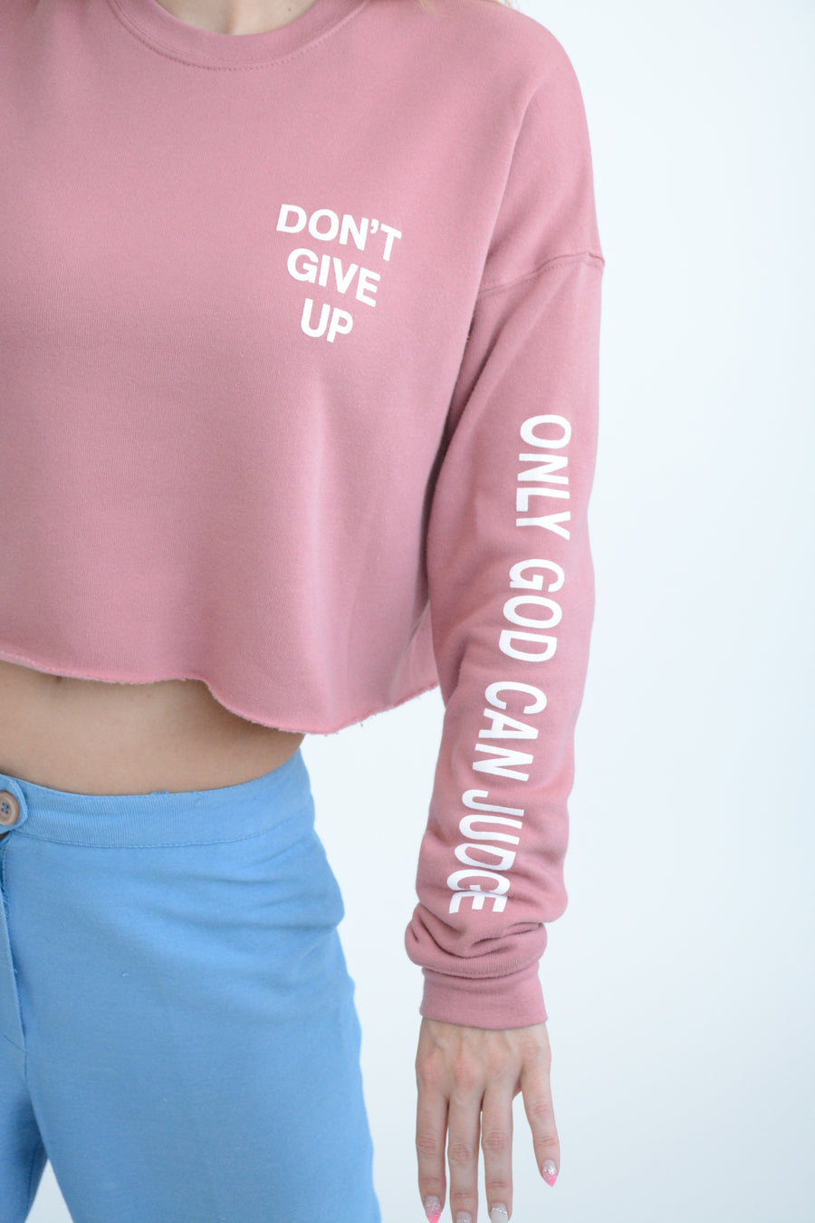 DON'T GIVE UP Crop Sweater