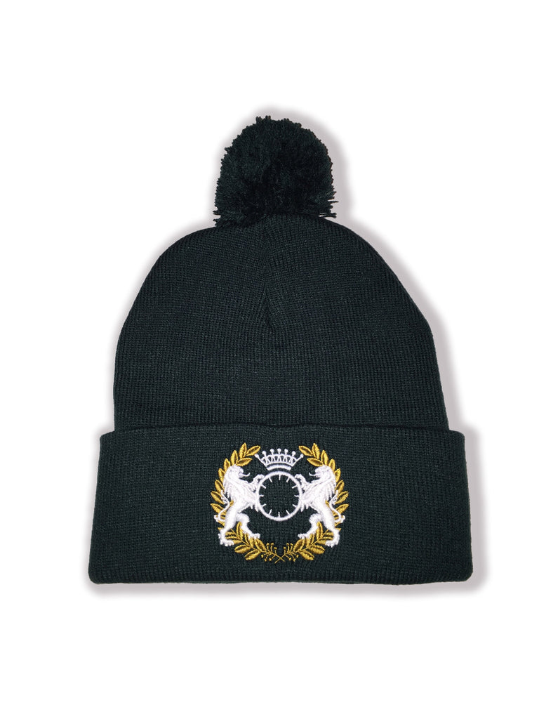 Double Sided Beanie w/ Pom - Forest Green
