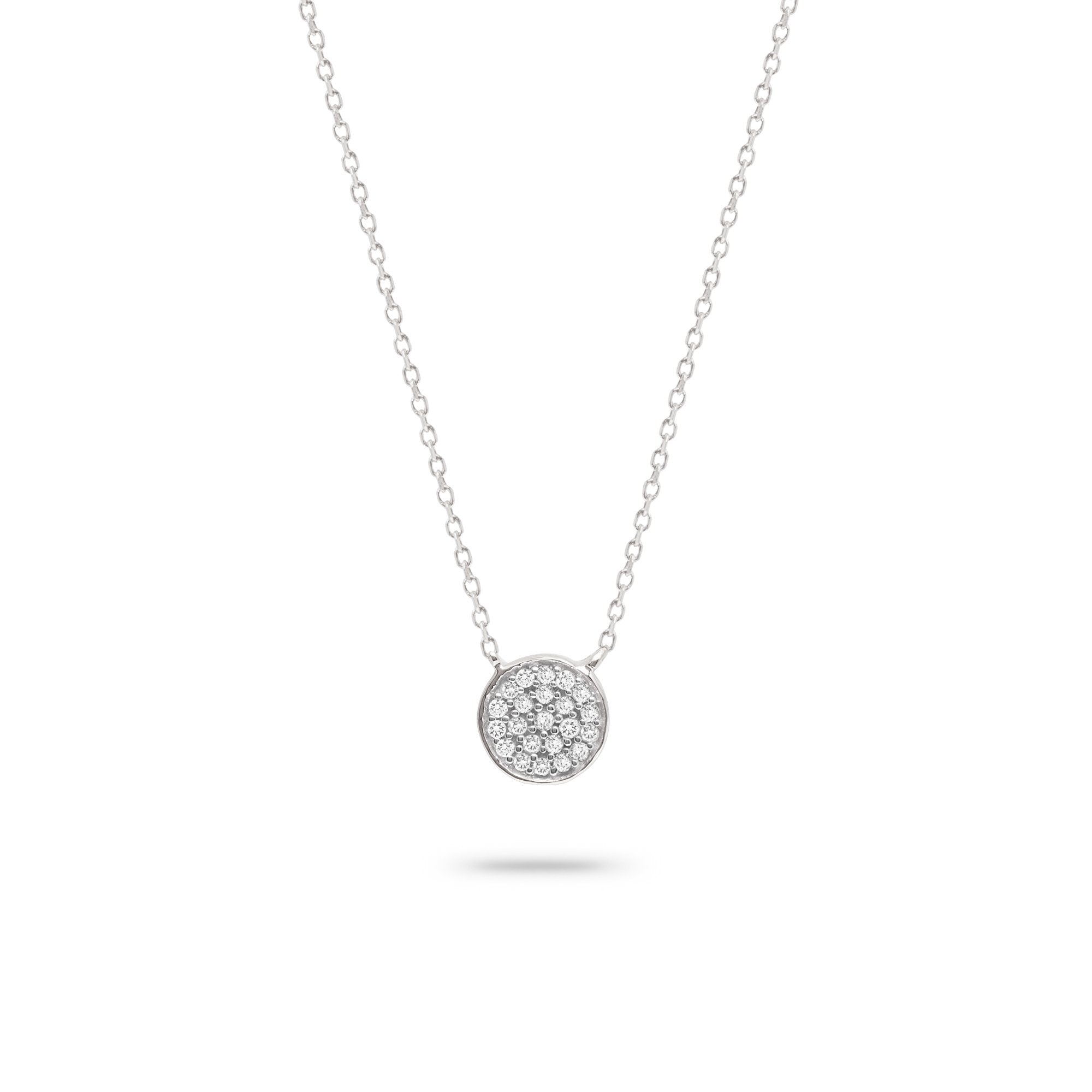 Solid Pavé Disc Necklace - Sterling Silver