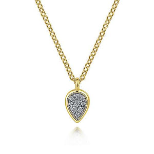 14K Yellow Gold Diamond Pendant Necklace