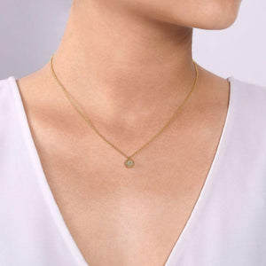 14K Yellow Gold Round Diamond Pavé Pendant Necklace with Single  Twisted Rope Frame