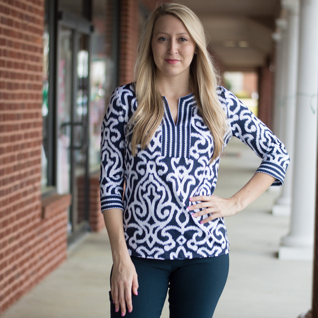 Jersey Split Neck Tunic in Navy Arabesque