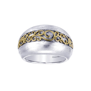 Sterling Silver & 18K Yellow Gold Domed Band