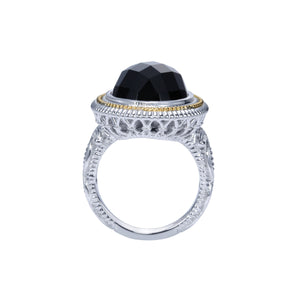 Sterling Silver, 18K Yellow Gold & Oval Black Onyx Ring