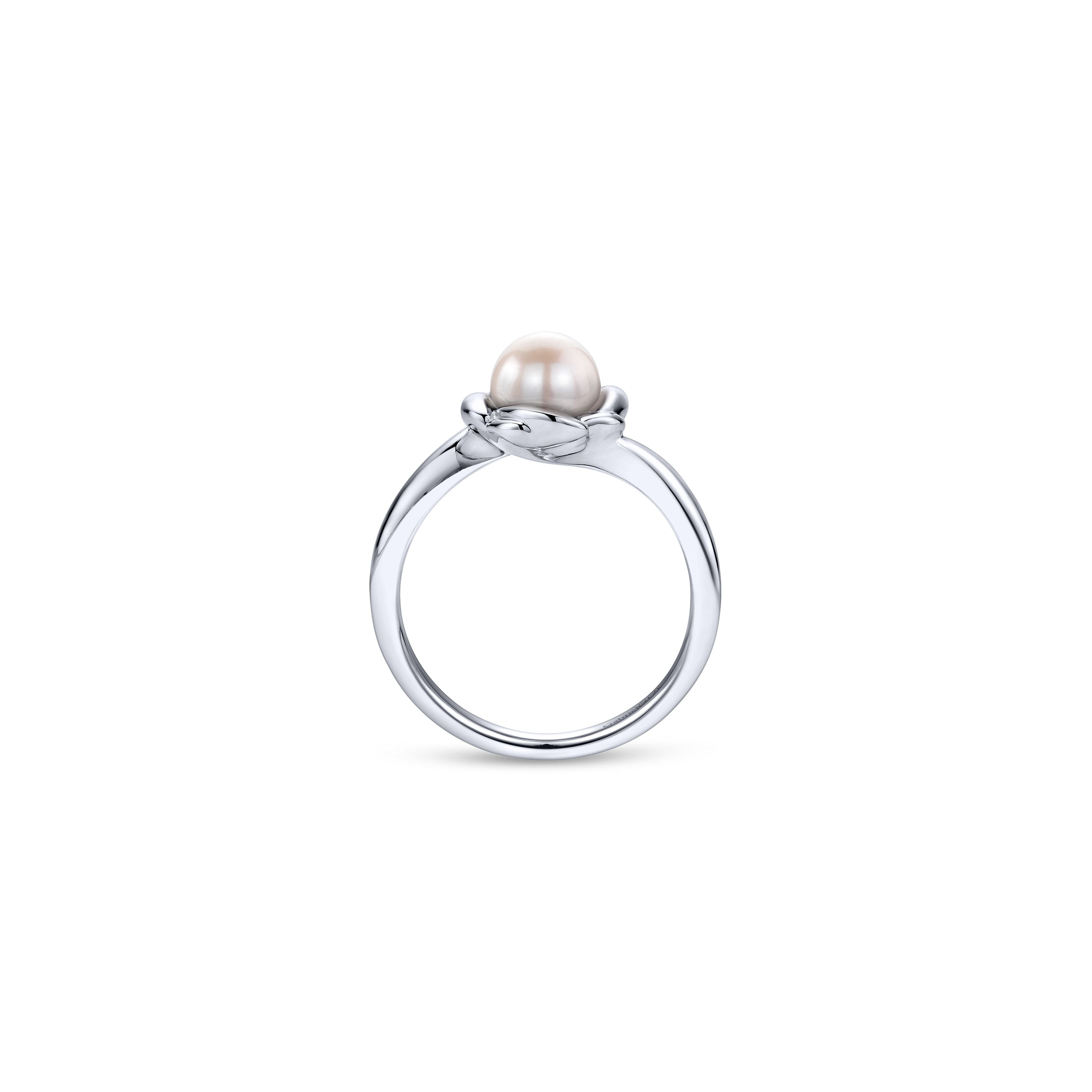 Sterling Silver Floral Cultured Pearl Ring