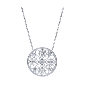 Sterling Silver & Diamond Filigree Necklace