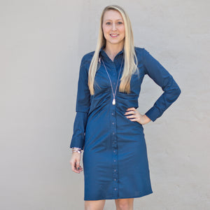 Gretchen Scott Ruched Shirt Dress in Navy Blue