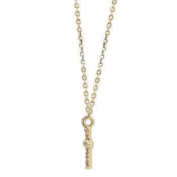 14K Yellow Gold Delicate Diamond Cross Pendant