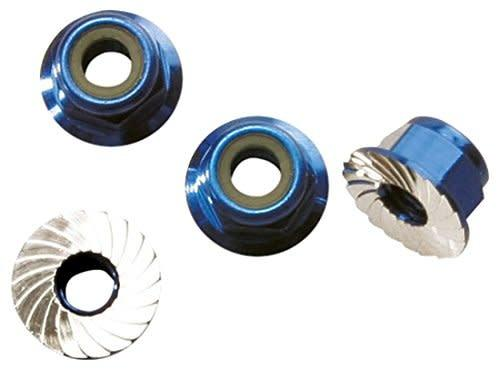 Nuts, aluminum, flanged, serrated (4mm) 7.5000