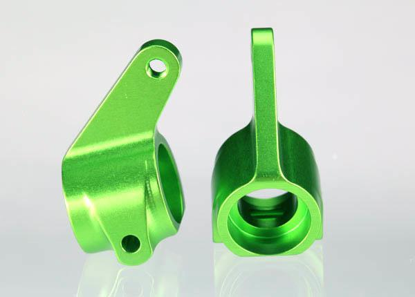 3636G Steering blocks, Rustler/Stampede/Bandit (2), 6061-T6 aluminum (green-anodized)/ 5x11mm ball bearings (4)