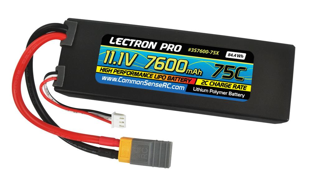 Lectron Pro™ 11.1V 7600mAh 75C Lipo Battery with XT60 Connector + CSRC adapter for XT60 batteries to Traxxas® vehicles