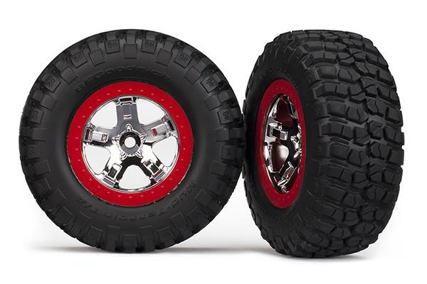 Tires & Whls Asmm, Red Beadlock (2): 2WD R,4WD F/R