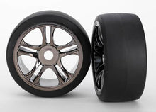 Load image into Gallery viewer, 6477 TIRES & WHEELS, ASSEMBLED, GLUED (SPLIT-SPOKE, BLACK) RR