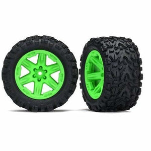 6773G - Tires & wheels, assembled, glued (2.8') (RXT green wheels, Talon Extreme tires, foam inserts) (2) (TSM rated)