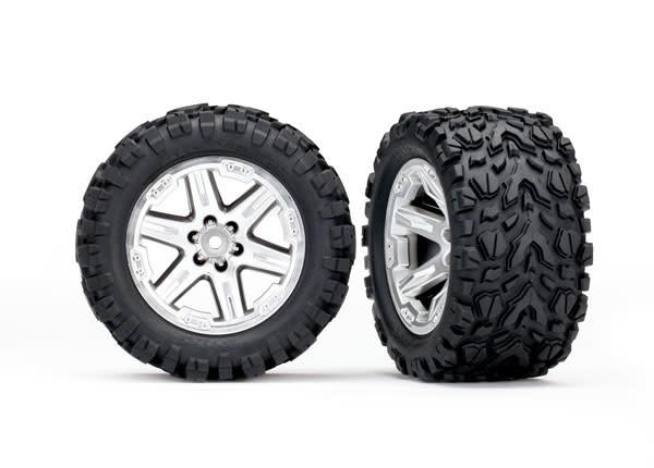 6773R - Tires & wheels, assembled, glued (2.8') (RXT satin chrome wheels, Talon Extreme tires, foam inserts) (2) (TSM rated)