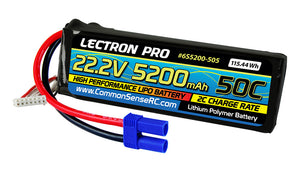 Lectron Pro 22.2V 5200mAh 50C Lipo Battery with EC5 Connector for Large Planes, Helis, Quads & 1/8 Trucks #6S5200-505