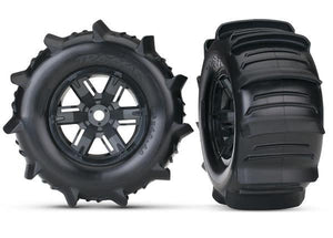 Tires & wheels, assembled, glued (X-Maxx black wheels, paddle tires, foam inserts) (left & right) (2)