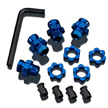 Traxxas 5853X Blue-Anodized Aluminum 17mm Wheel Hub adapters, (set of 4)