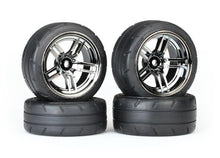 Load image into Gallery viewer, Tires & wheels, assembled, glued (split-spoke black chrome wheels, 1.9' Response tires, foam inserts) (front (2), rear (extra wide) (2)) (VXL rated)