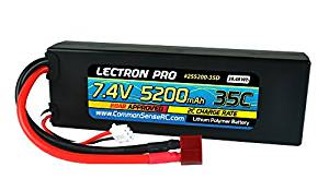 Lectron Pr  7.4V 5200mAh 35C Lipo Battery with Deans-Type Connector for 1/10th Scale Cars & Trucks - Team Associated etc.