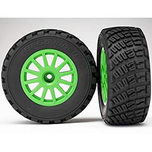 7473X Tires & wheels, assembled, glued (Green wheels, BFGoodrich'' Rally, gravel pattern tires, foam inserts) (2) (TSM rated)