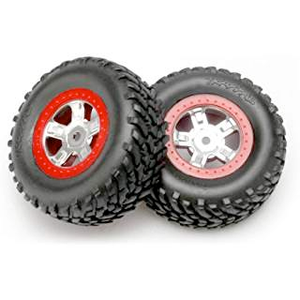 7073A Tires and wheels, assembled, glued (SCT satin chrome wheels, red beadlock style, SCT off-road racing tires, foam inserts) (1 each, right & left)