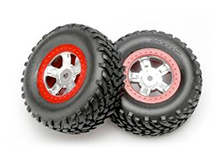 Load image into Gallery viewer, 7073A Tires and wheels, assembled, glued (SCT satin chrome wheels, red beadlock style, SCT off-road racing tires, foam inserts) (1 each, right & left)