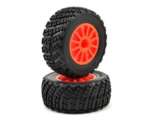 7473A Tires & wheels, assembled, glued (orange wheels, BFGoodrich'' Rally, gravel pattern tires, foam inserts) (2) (TSM rated)