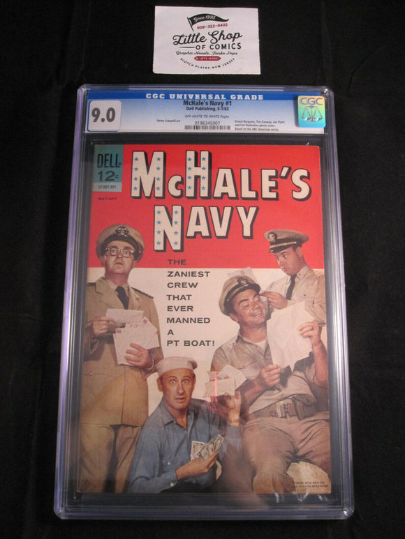 McHALE'S NAVY (1963) #1 CGC 9.0 photo cover ABC TV SHOW Dell Comics