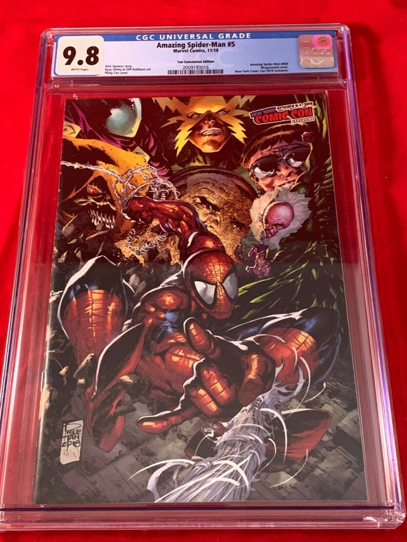 Amazing Spider-Man #5 CGC 9.8 NYCC 2018 Phillip Tan Wraparound Variant