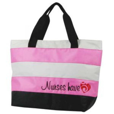 Nurses Have Heart Pink & Gray Embroidered Tote - Bella Grace Health Scrubs