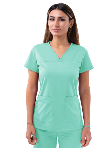 P4210 Women's Sweetheart V-Neck Scrub Top - Bella Grace Health Scrubs