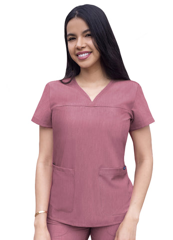 P4210 Sweetheart V-Neck Scrub Top Pro Heather - Bella Grace Health Scrubs